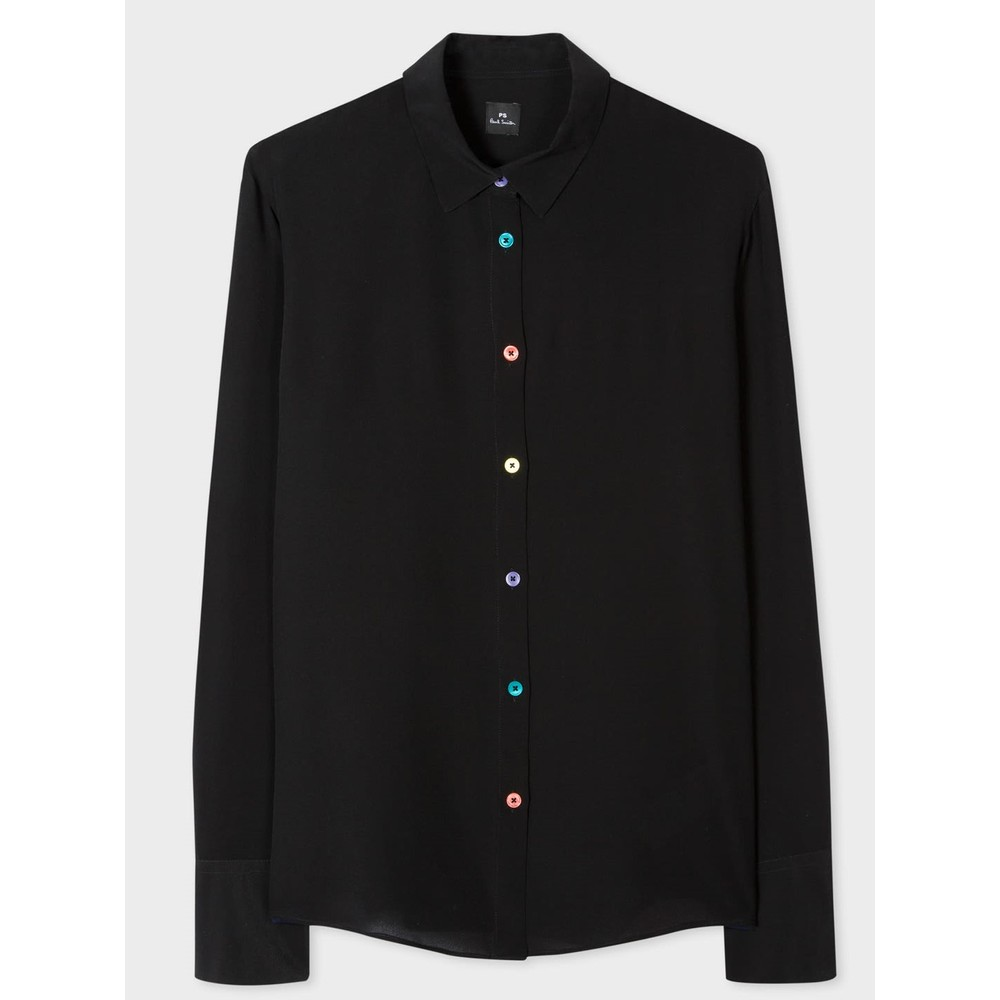 Paul Smith Womens Multi Colour Btns Silk Shirt Black/Multi
