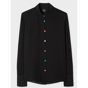 Multi Colour Btns Silk Shirt Black/Multi