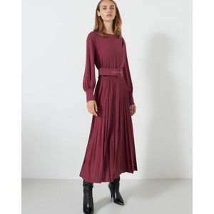 Kibbutz Pleat Skirt Belted Drs Bordeaux