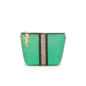 Cockatoo Glitter Stripe Make Up Bag in Green