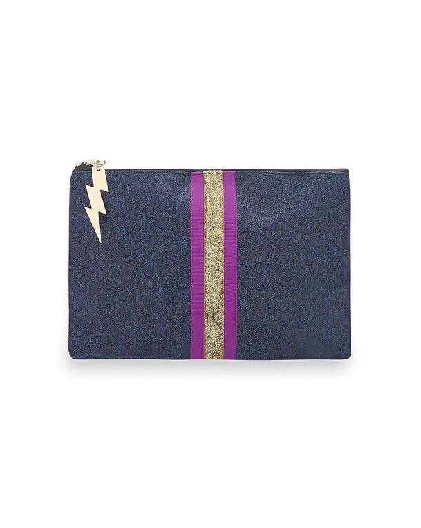 Cockatoo Glitter Stripe Make Up Bag Navy