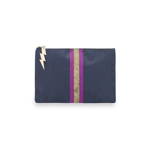 Cockatoo Glitter Stripe Make Up Bag in Navy