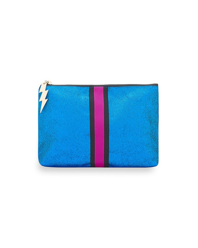 Cockatoo Glitter Stripe Make Up Bag Bright Blue