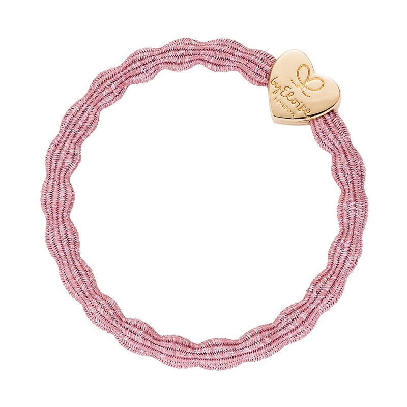By Eloise Gold Heart Bangle Bands Rose Pink