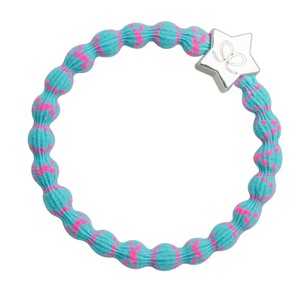 Silver Star Bangle Bands Neon Pink/Neon Blue
