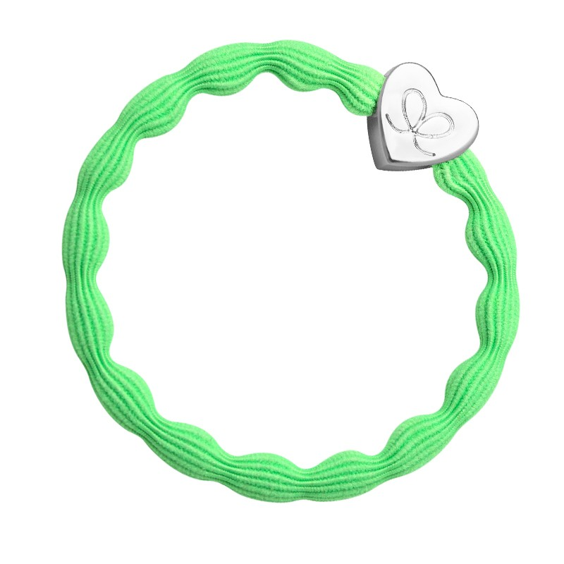 By Eloise Silver Heart Bangle Bands Neon Green