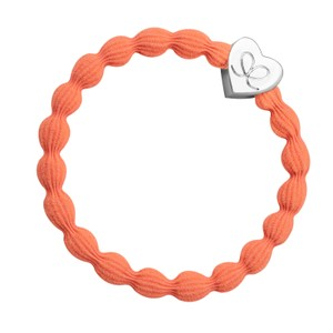 By Eloise Silver Heart Bangle Bands in Neon Orange