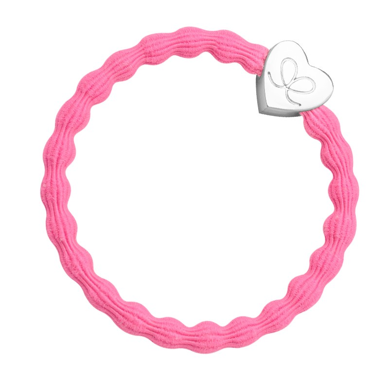 By Eloise Silver Heart Bangle Bands Neon Pink