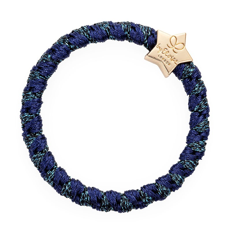By Eloise Gold Star Woven Bangle Band Navy Shimmer