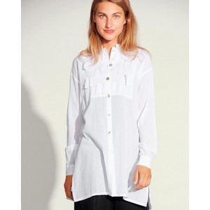Crinkle Cotton Squares Tunic White