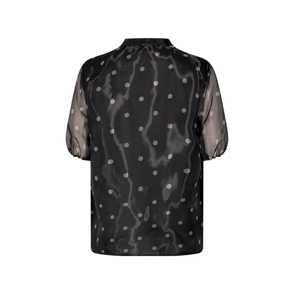 Levete Room Kada S/S Sheer Spotty Blouse Black/Grey