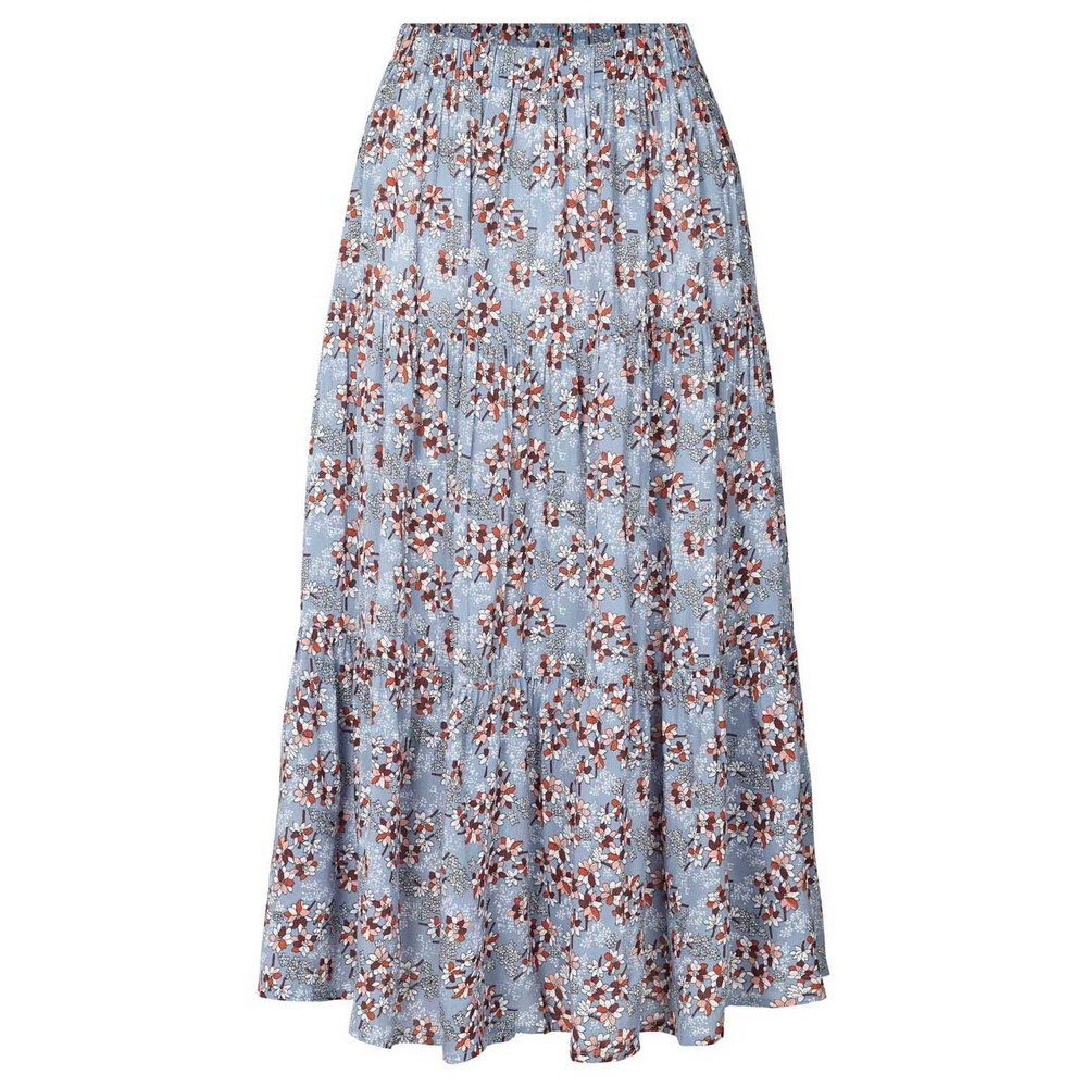 Lollys Laundry Morning Floral A Line Skirt Dusty Blue/Multi