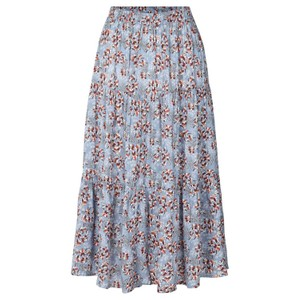 Morning Floral A Line Skirt Dusty Blue/Multi