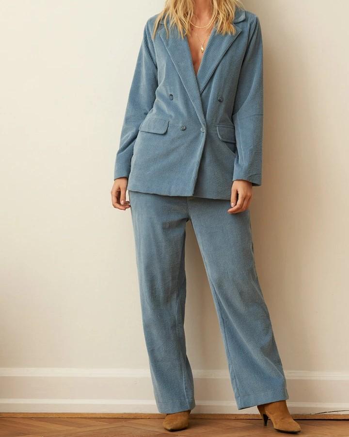 Lollys Laundry Lauren Cord Blazer Dusty Blue