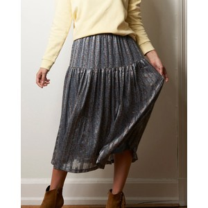 Cokko Leaves Long Skirt Dusty Blue/Multi