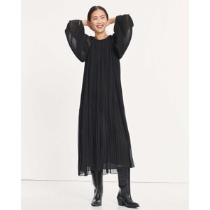 Elena L/S Pleated Dress Black