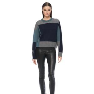 360 Sweater Leena Block Col Skull Knit Navy/Teal/Mid Grey
