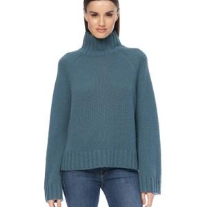 360 Sweater Leighton Hi Nk Loose Slv Knit in Teal