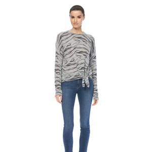 360 Sweater Kourtney Tiger Knot Hem Knit Misty Blue/Charcoal