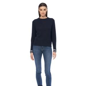 360 Sweater Chriselle Stripe Cuff Jumper Navy/Chalk