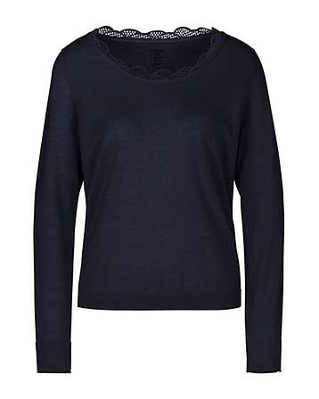 Marc Cain Lace Trim Neck Fine Knit Midnight Blue
