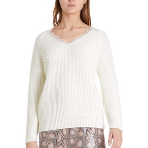Lace Trim V/N Rib Jumper Off White