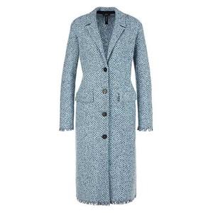 Marc Cain Herringbone Long Coat Celeste