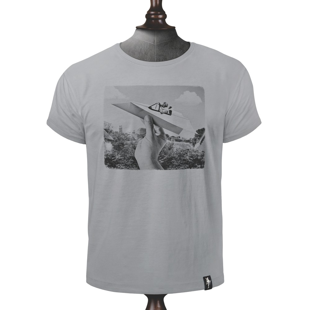 Dirty Velvet Plane Paper T Shirt Highrise Grey
