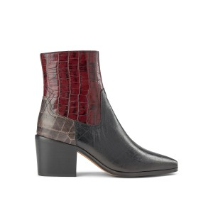 Georgia Croc Mix Boot Bordeaux/Multi