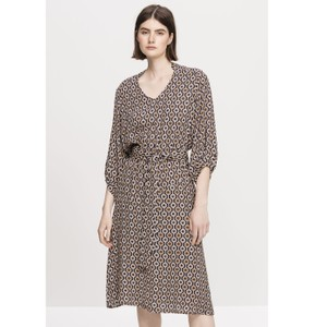 L/S Geometric Dress W Belt Black/Brown
