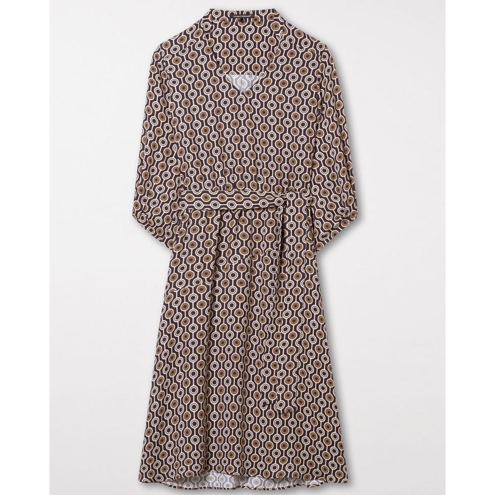 Luisa Cerano L/S Geometric Dress W Belt Black/Brown
