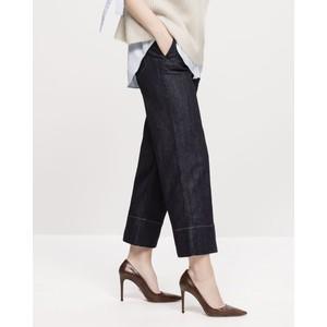 Wide Leg Crop Jeans Dark Blue