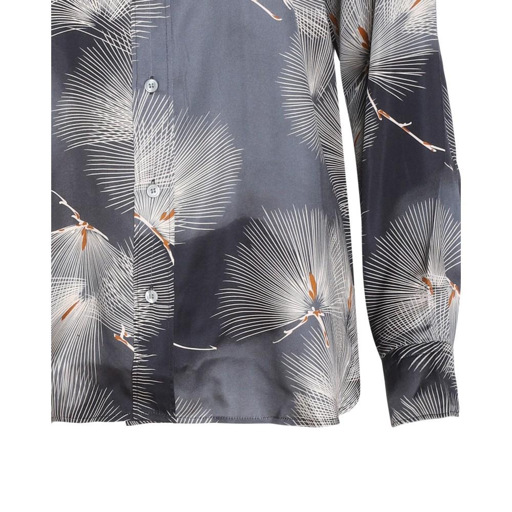Hartford Charlot Japanese Print Shirt Grey/White/Nut