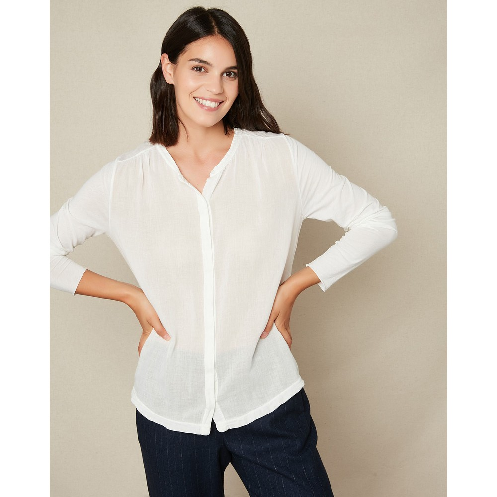 Hartford Tao Collarless Cotton Shirt Snow