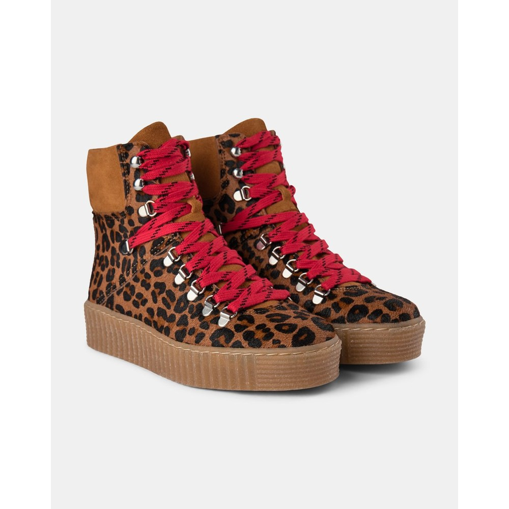 Shoe The Bear Agda Leo Lace Up Boot Brown Leopard