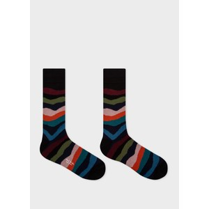 Paul Smith Accessories Mountain Stripe Sock Black/Multi