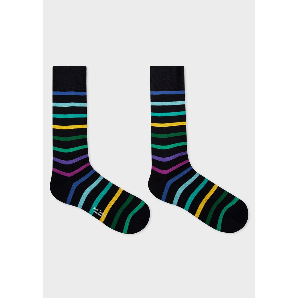 Paul Smith Accessories Percy Stripe Sock Navy/Green/Multi