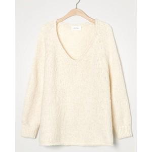 American Vintage Tudbury V/N Chunky Sweater in Ecru Melange