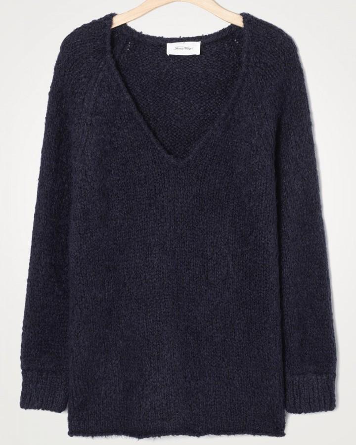 American Vintage Tudbury V/N Chunky Sweater Navy Melange