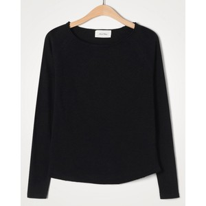 American Vintage Sonoma L/S Raw Edge Top in Black