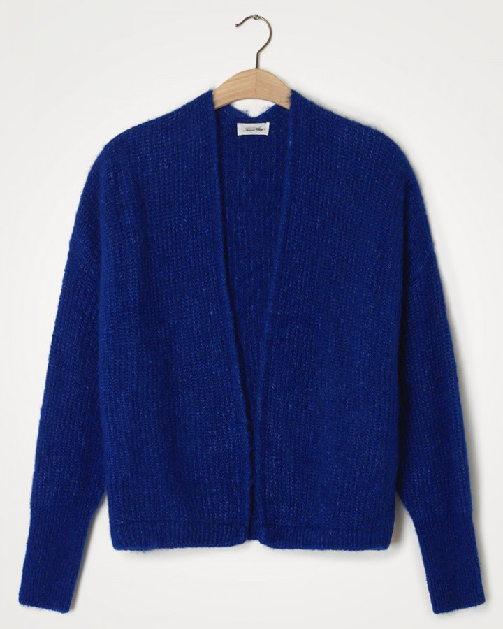 American Vintage East Chunky Knit Open Cardi Royal Blue
