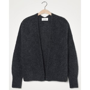 American Vintage East Chunky Knit Open Cardi in Charcoal Melange
