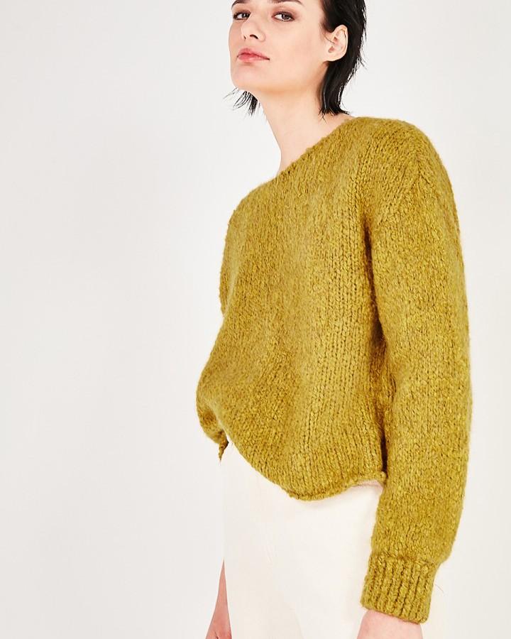American Vintage Tudbury Chunky Knit Sweater Mustard Melange