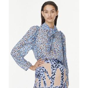 Jadyn Animal Print Tie Nk Top Turquoise Blue/Black