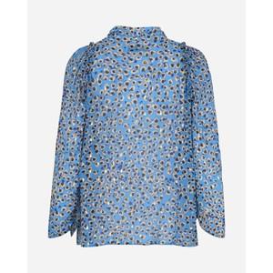 Munthe Jadyn Animal Print Tie Nk Top Turquoise Blue/Black