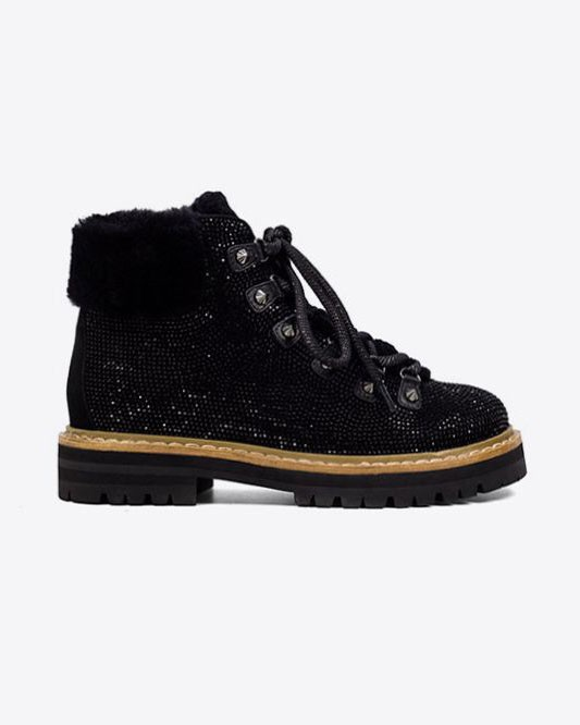 Lola Cruz Austin Crystal Stone Boot Black