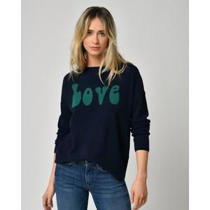 Five Love Curved Hem Jumper Navy/Green