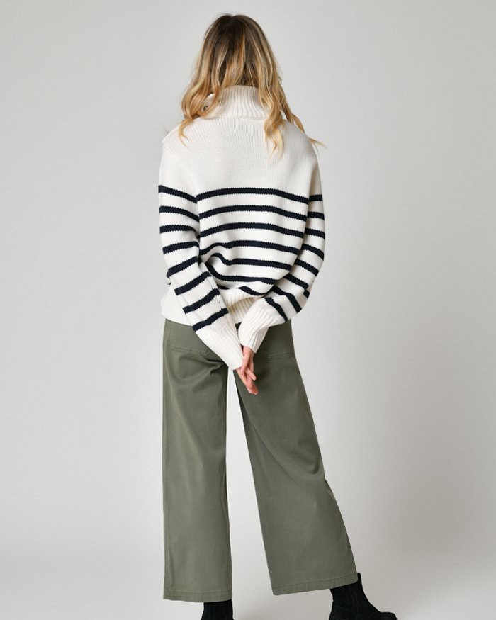 Five Btnd Hi Nk Striped Jumper Off White/Navy