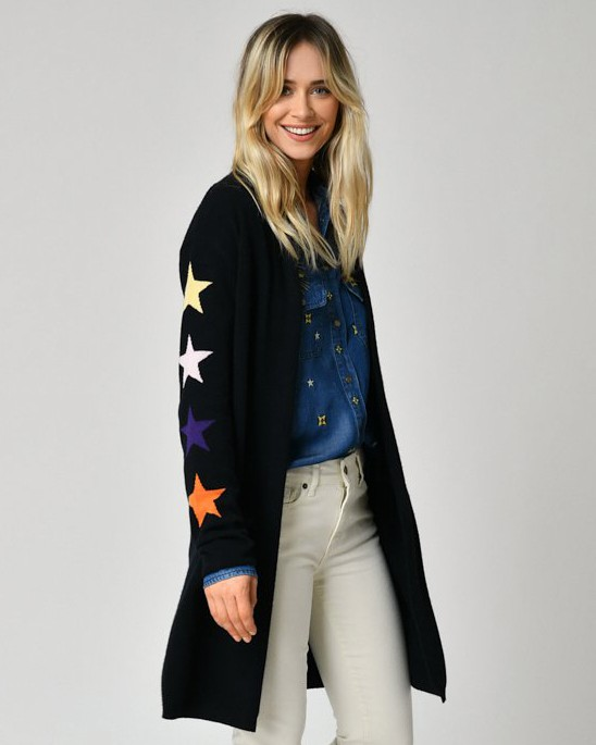 Five Stars Sleeves Open Long Cardi Black/Multi