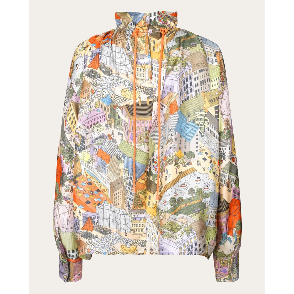 Stine Goya Ines City Print Silk Blouse Multi